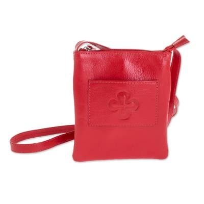 Cross Pattern Leather Sling in Crimson from El Salvador