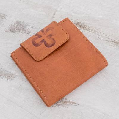 Leather wallet, 'Sepia Cross' - Handmade Leather Wallet in Sepia from El Salvador