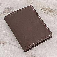 Leather wallet, 'Espresso Helper' - Handcrafted Leather Wallet in Espresso from El Salvador