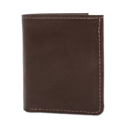 Handcrafted Leather Wallet in Espresso from El Salvador