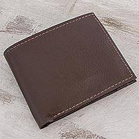 Leather wallet, 'Chestnut Convenience' - Handmade Leather Wallet in Chestnut from El Salvador