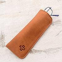 Leather eyeglasses case, 'Stylish Reader' - Handmade Leather Eyeglasses Case from El Salvador