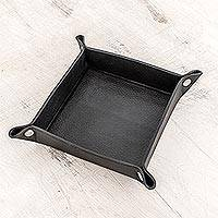Leather catchall, 'Home Style in Black' - Handmade Leather Catchall in Black