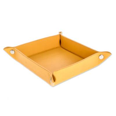 Handmade Leather Catchall in Maize