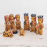 Wood nativity scene, 'Christmas Puppies' (9 piece) - Dog-Themed Wood Nativity Scene from Guatemala (9 Piece)