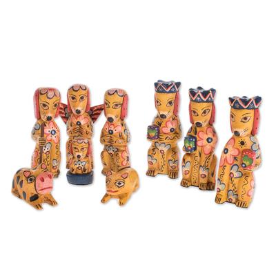 Dog-Themed Wood Nativity Scene from Guatemala (9 Piece)