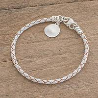 Silver and leather braided bracelet, 'Walk of Life in White' - Fine Silver and Leather Braided Bracelet in White