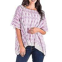 Cotton caftan, 'Lilac River' - Cotton Caftan in Lilac and White from Guatemala