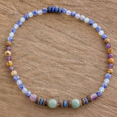 Multi-gemstone beaded stretch anklet, 'Vibrant Color' - Multi-Gemstone Beaded Stretch Anklet from Guatemala