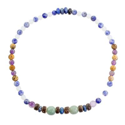 Multi-Gemstone Beaded Stretch Anklet from Guatemala