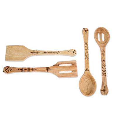Wood utensils, 'Culinary Flavor' (set of 4) - Handmade Cypress Wood Utensils from Guatemala (Set of 4)