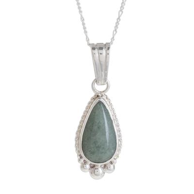 Jade pendant necklace, 'Subtle Drop' - Teardrop Apple Green Jade Pendant Necklace from Guatemala