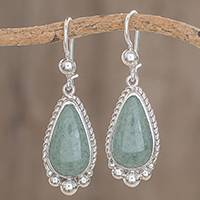 Jade dangle earrings, 'Subtle Drop' - Teardrop Apple Green Jade Dangle Earrings from Guatemala