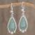 Jade dangle earrings, 'Subtle Drop' - Teardrop Apple Green Jade Dangle Earrings from Guatemala (image 2) thumbail