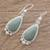 Jade dangle earrings, 'Subtle Drop' - Teardrop Apple Green Jade Dangle Earrings from Guatemala (image 2b) thumbail