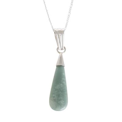Jade pendant necklace, 'Apple Green Jungle Dewdrop' - Apple Green Teardrop Jade Pendant Necklace from Guatemala
