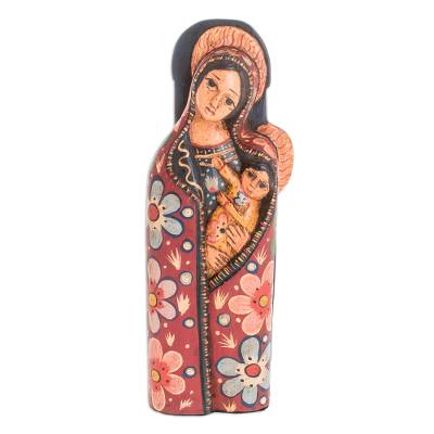 Wood statuette, 'Mother of Love' - Hand-Carved Wood Mary and Jesus Statuette from Guatemala