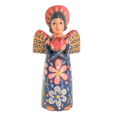 Wood statuette, 'Angel Love' - Hand-Carved Wood Angel Statuette from Guatemala