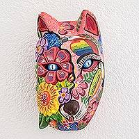 Wood mask, 'Guatemalan Marvels' - Hand-Painted Floral Wood Wolf Mask from Guatemala