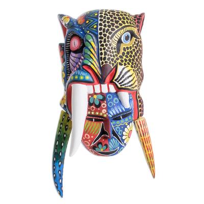 Wood mask, 'Mayan Warrior' - Hand-Painted Wood Mayan Warrior Mask from Guatemala