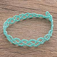 Hand-tatted anklet, 'Wavy Illusion in Aqua' - Hand-Tatted Anklet in Aqua from Guatemala