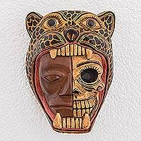 Wood mask, 'Face of a Warrior' - Hand-Carved Wood Jaguar Warrior Mask from Guatemala