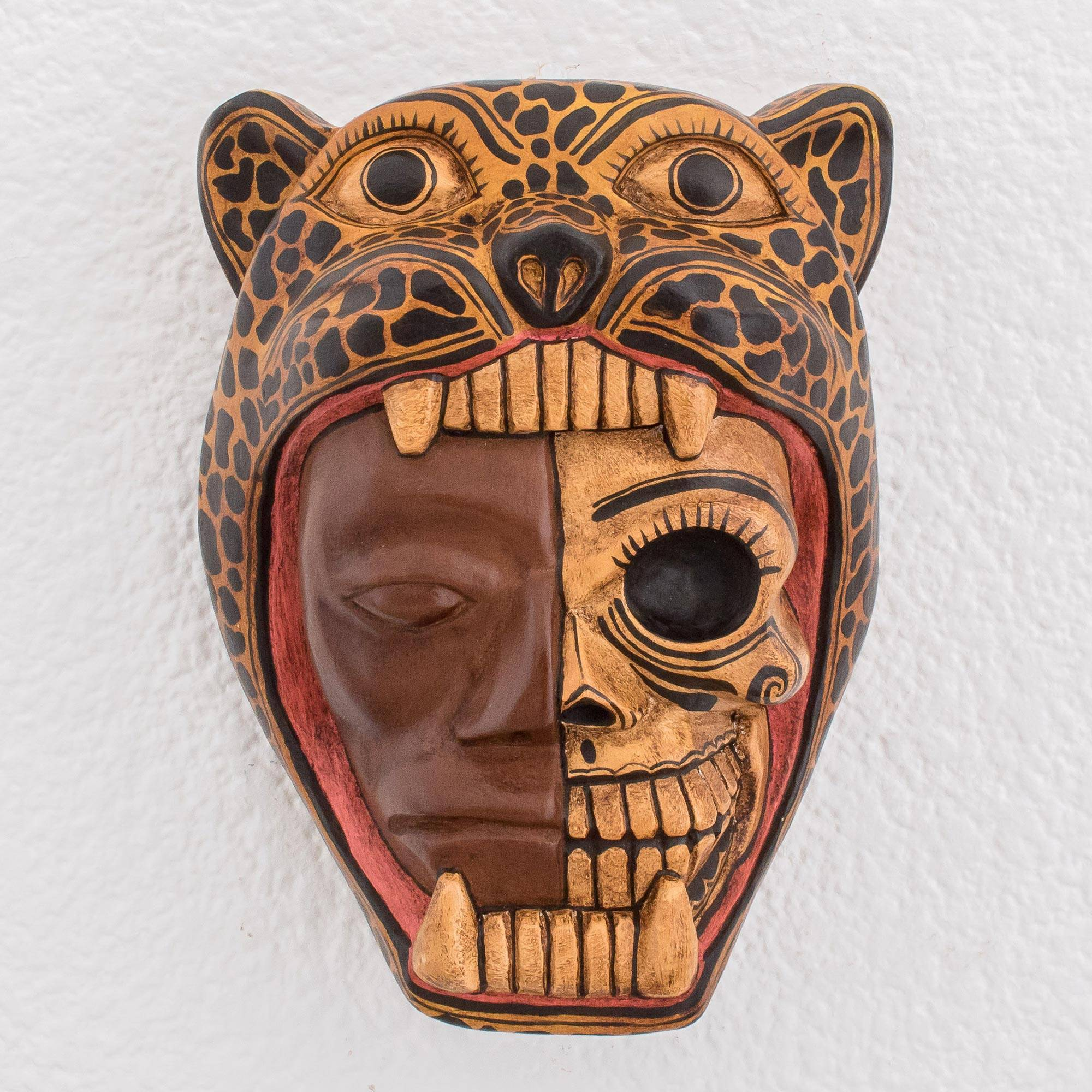 Hand Carved Wood Jaguar Warrior Mask From Guatemala Face Of A Warrior Novica