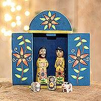 Wood nativity scene, 'Retablo Nativity' (7 piece)