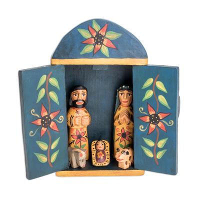 Wood nativity scene, 'Retablo Nativity' (7 piece) - Wood Retablo Nativity Scene from Guatemala (7 Piece)