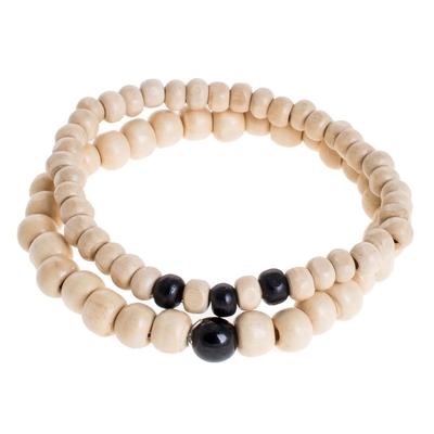 Black Jade and Pinewood Beaded Stretch Bracelets (Pair)
