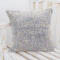 Wool blend cushion cover, 'Sky Bliss' - Handwoven Wool Blend Cushion Cover in Cornflower and White