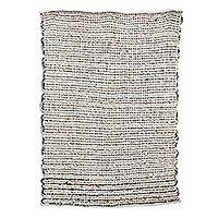 Cotton and wool blend mat, 'Distant Lands' - Handwoven Cotton and Wool Blend Mat from Guatemala
