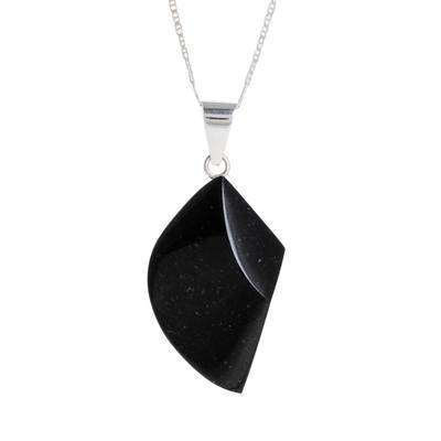 Jade pendant necklace, 'Mayan Ax in Black' - Blade-Shaped Jade Pendant Necklace from Guatemala