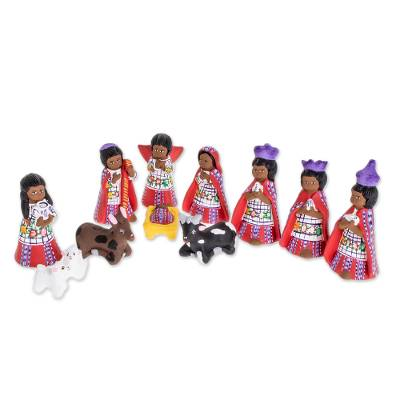 Ceramic nativity scene, 'Santiago Nativity' (12 piece) - Hand-Painted Cultural Ceramic Nativity Scene from Guatemala