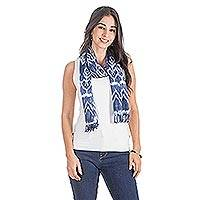 Rayon scarf, 'Diamond Essence in Denim' - Handwoven Diamond Pattern Rayon Scarf in Denim