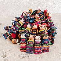Cotton decorative dolls, 'Worry Doll Village' (set of 100)
