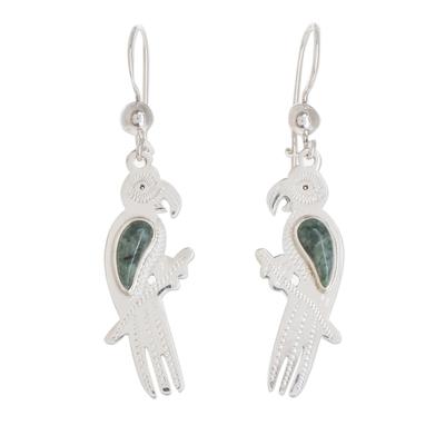 Jade dangle earrings, 'Gleaming Macaw' - Green Jade Macaw Dangle Earrings from Guatemala