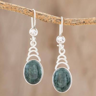 Jade dangle earrings, 'Dark Green Antique Arcs' - Arc Motif Jade Dangle Earrings from Guatemala
