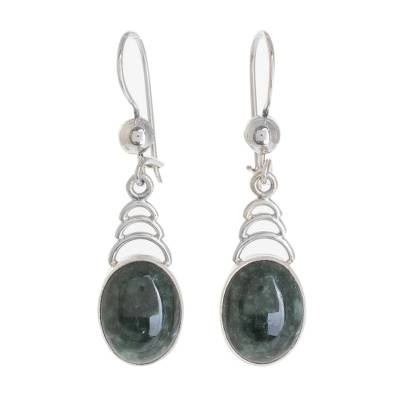 Jade dangle earrings, 'Dark Green Antique Arcs' - Arc Motif Jade Dangle Earrings from Guatemala