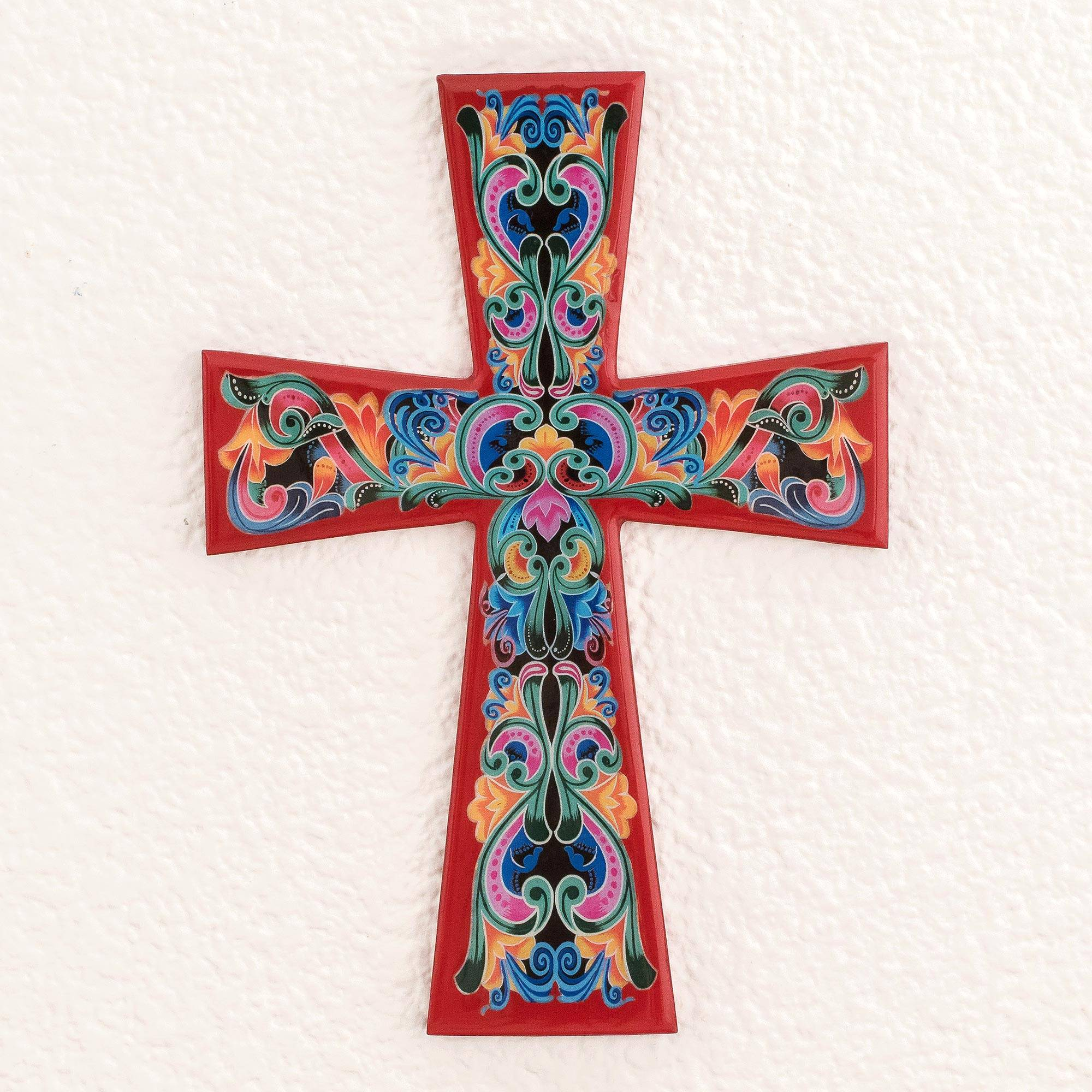 Decoupage Wood Wall Cross With Red Accents Traditional Colors In Red Novica