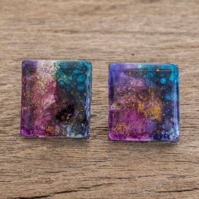 Recycled glass button earrings, 'Cosmic Constellation' - Colorful Square Recycled Glass Button Earrings