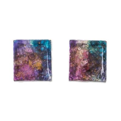 Colorful Square Recycled Glass Button Earrings