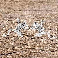 Sterling silver button earrings, 'Lithe Beauties' - Modern Sterling Silver Frog Button Earrings from Costa Rica