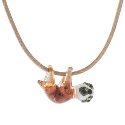 Handblown glass pendant necklace, 'Cute Sloth' - Handblown Glass Sloth Pendant Necklace from Costa Rica