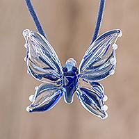 Handblown glass pendant necklace, 'Blue Butterfly' - Blue Butterfly Handblown Glass Pendant Necklace