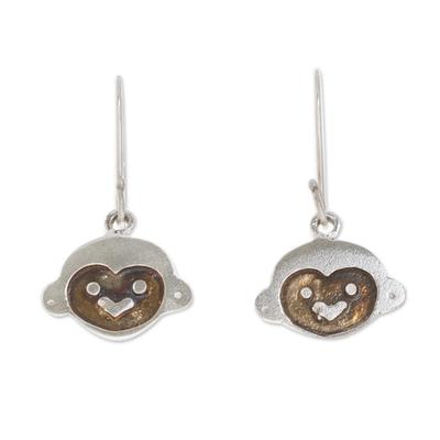 Modern Sterling Silver Monkey Dangle Earrings