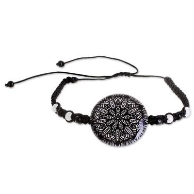 Black and White Glass Beaded Macrame Pendant Bracelet