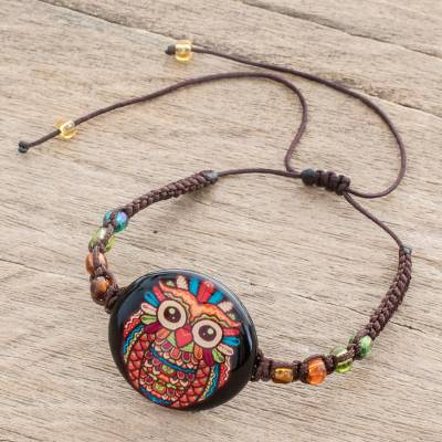 Glass beaded macrame pendant bracelet, 'Colorful Owl' - Owl-Themed Glass Beaded Macrame Pendant Bracelet