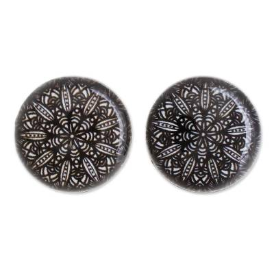 Black and White Resin and Paper Stud Earrings