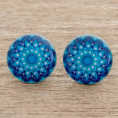 Resin and paper stud earrings, 'Blue Rivers' - Resin and Paper Stud Earrings in Blue from Costa Rica